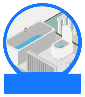 A bathtub and toilet with home insurance cover